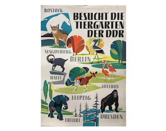 SALE 10% OFF Original Vintage Zoo Poster. Berlin. Germany. Tierpark. Zoos of the DDR. Elephant. Ape. Flamingo.  Advertising Poster. 2017-061