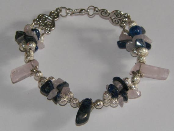 "Lapis Lazuli & Rose Quartz ""Honorable Love"" Crystal Healing Bracelet"