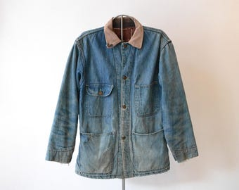 Vintage 1940's Blue Top denim Chore Coat. Wool Blanket lined, corduroy collar, faded, distressed. size 40 FREE SHIPPING