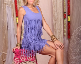Blue Fringe Dress / Hippie Party Dress / Fringe Dress / Blue Short Dress / Stretchy Dress / The 20's Dress / Cotton Jersey Dress / Dress