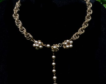 RARE Vintage Miriam Haskell Designer Rope Chain Choker Necklace with Pearls