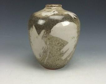 Pearl Shino White Grey and Black Small Ceramic Vase, Modern Home Decor, Unique Rustic Vessel, Tiny Clay Bud Vase, Flower Vase