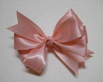 Little 3 inch Petite Sweet Ballet Pink Seashell Satin Hair Bow Toddler Baby Girl Small bow