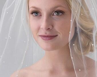 Pearl Bridal Veil, Scattered Pearl Wedding Veil, Tulle Veil, Ivory Veil, Fingertip Veil, Pearl Veil, Pencil Edge Veil, Bride Veil ~VB-5078