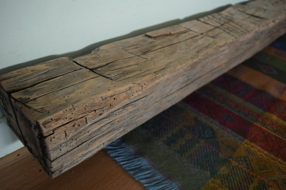 Reclaimed hand hewn mantel shelf