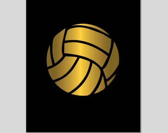Volleyball Real Gold or Silver Foil Art Print, Gold Silver Foil Art Print, Unframed, Custom Name and Colors, real gold foil, silver foil