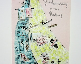 Vintage 2nd Wedding Anniversary Card Featuring Pretty Embossed His and Hers Cotton Hand Towels with Glitter Embellishments Congratulations