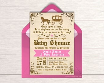 Pink Fairytale Baby Shower Invitation - Printable Shower Invite - Once Upon a Time - Royal Princess Shower - Baby Girl Shower Package - BS12