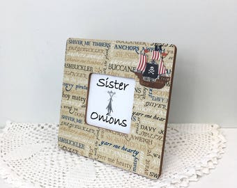Pirate's Cove Decoupaged Picture Frame - Pirate Picture Frame - Pirate Decor