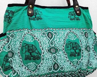 Women bag Handbags Thai Cotton bag Elephant bag Hippie bag Hobo bag Boho bag Shoulder bag Tote bag Diaper bag Everyday bag Purse Green