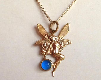 Mood Necklace Fairy Elf color changing 24K Gold Plated Brass