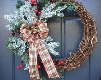 Winter Wreaths, Christmas Wreaths, Plaid Bow, Evergreen Wreaths, Winter Decorating, Winter Gifts, Gift for Her, Christmas Decor, Red Berries