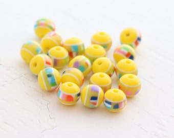 Vintage Yellow Acrylic Beads - Yellow, Multi - 7mm - 20 beads