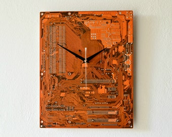 Industrial Wall Clock, Modern Circuit Board Clock, IT Tech Reclaimed Clock, Office Home Industrial Decor, Unique Gift