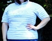 Plus Size - Vintage Stripe Hooded B.U.M. Logo T-Shirt (Size 12/14)
