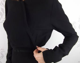 VINTAGE BLACK DRESS 1950's Zippers Belt Size Extra Small