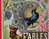 Antique Reading Book Illustration Digital Image Download Printable Aesops Fables