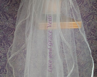 First Communion Veil with Flowers on Comb/Barrette