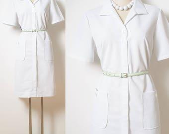 Vintage Dress, 60s Dress, Vintage white Dress, Mad Men Dress, 60s white Dress, White vintage dress,vintage uniform,vintage shirt dress - M/L