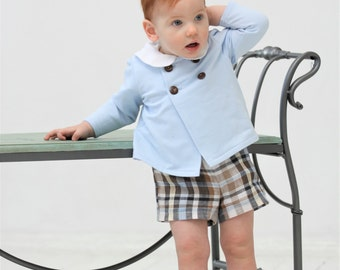 Baby boy Cardigan Double breasted cardigan Baby blue Wedding party outfit 1st birthday outfit Boys suit Family photo Christening outfit