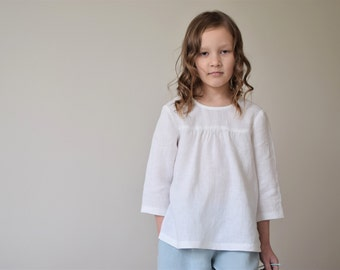 Girls blouse Toddler girls white linen blouse Girls summer clothes Eco friendly clothes