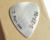I pick you guitar pick - Personalized Custom silver - Wedding Anniversary Gift for men - Boyfriend Husband - Girlfriend Wife - Musician