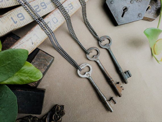 Antique Skeleton Key Necklace | P.F. Corbin Co. | Gunmetal Steel or Antique Brass Chain | Vintage | BoHo | With History Card! | Limited #'s