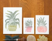 Plant Home - hand printed greeting cards - set of 3