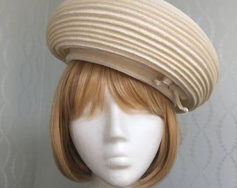 Christian Dior Off-White Woven Straw Hat 1960's-Pristine!