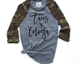 Taco Shirt. Tacos and Cerveza. Tacos and Tequila Shirt. Taco. Camo Camouflage Baseball Raglan Shirt. Camo Taco Shirt. Taco bout a Party.