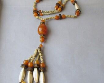 Hippie Era 1960's Vintage Amber Lucite & Bone LONG Tassel Necklace