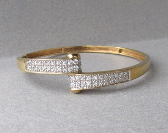 Vintage Gold Plated Sterling Silver Vermeil Cubic Zirconia Hinged Bangle Bracelet