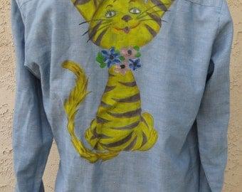 Vintage 1970's hand painted cat blue cotton chambray selvedge l/s shirt sz 16 boho hippie