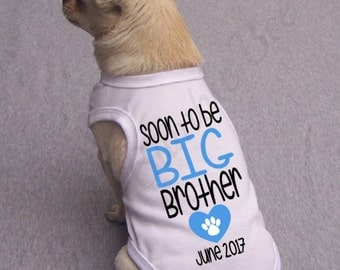 White Soon to be a big brother dog cat paw heart shirt, girl puppy shirt top pregnancy announcement with month and year for pet 101