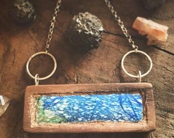 Malachite, azute & walnut wood and earth pendant necklace