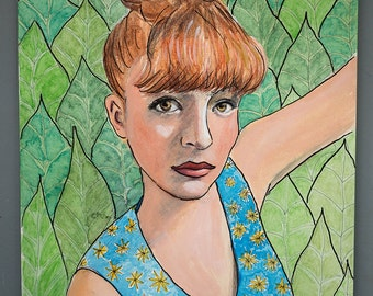 Original Mixed Media +  Watercolor Painting Red Haired Woman With Bun Tropical Leaves Background