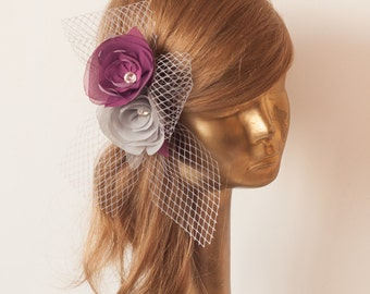 BIRDCAGE VEIL. Gray veil .Romantic wedding Headpiece with beautifull,delicate Flowers.BRIDAL Fascinator