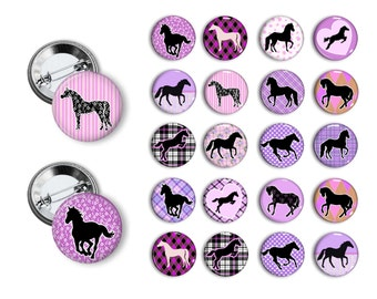 Horse, Pony Theme Pin Back Button Party Favors Horse Party Theme 1.25 inch Buttons Pin Badges Magnets