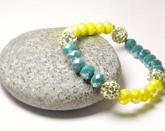 Beaded Bracelet Stretch Bracelet Gold Bracelet Yellow Green Bracelet Rhinestone Bracelet Crystal Bracelet Gift Handmade Fashion Jewelry