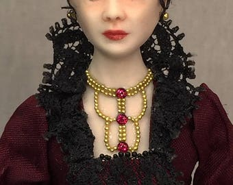 Miniature Porcelain Dollhouse Doll in 1:12 or 1/12th Scale-Vampire