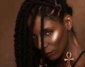 Ankh / / Schlüssel des Lebens / / Ägypten / / Afrocentric / / natürliche Holz von Hand gefärbt Ohrringe / / afrikanischen und karibischen inspirierten Schmuck