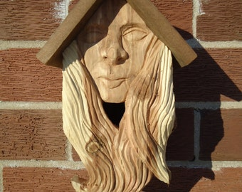 Female carved wood spirit birdhouse - Cedar wood birdhouse - Anniversary gift - Outdoor birdhouse - Wood spirit, Redwood barn boards, Rustic