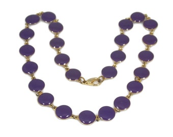 Purple Enamel Disk Necklace