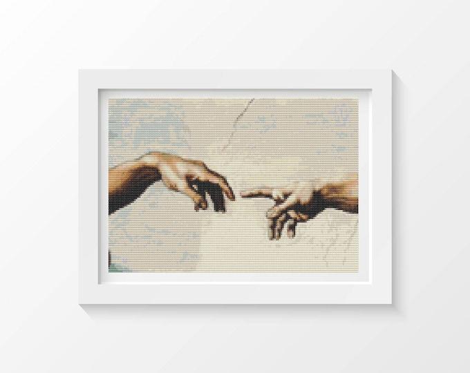 Cross Stitch Pattern PDF, Embroidery Chart, Art Cross Stitch, Hands of God and Adam by Michelangelo (MICHE02)