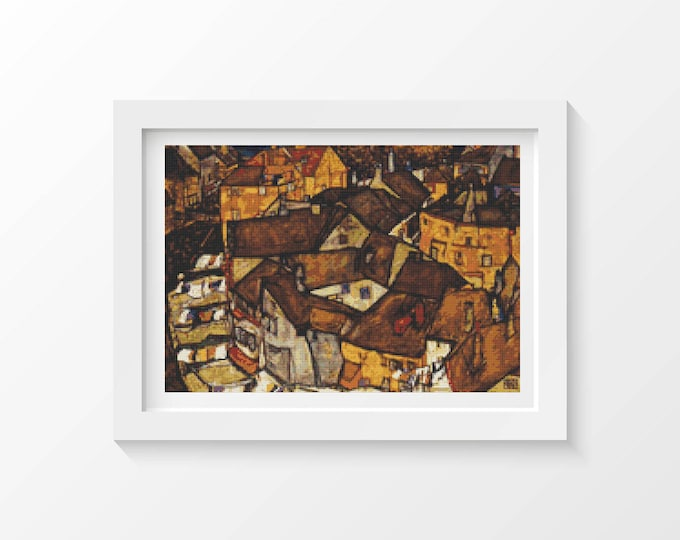 Cross Stitch Pattern PDF, Embroidery Chart, Art Cross Stitch, Architecture, Crescent of Houses by Egon Schiele (SCHIE04)