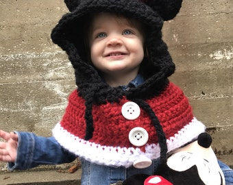 Minnie Mouse Inspired Cape / Cowl with Hood and Mouse Ears - 2 years - 5 years