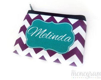 Personalized Mini Wallet | Monogram Zipper Wallet | Change Purse - Coin Purse - Coin Pouch