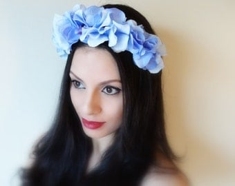 BLUE Hydrangea Flower Crown, Floral Headband, Flower Headband