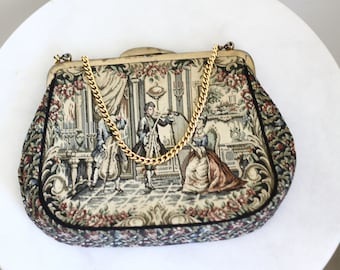 1960s large tapestry purse // tapestry purse // vintage purse