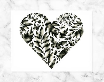 Black and White Nursery Print, Scandinavian Art, Watercolor Floral Print, Nordic Print, Floral Butterfly Heart Print, Minimal Art Print